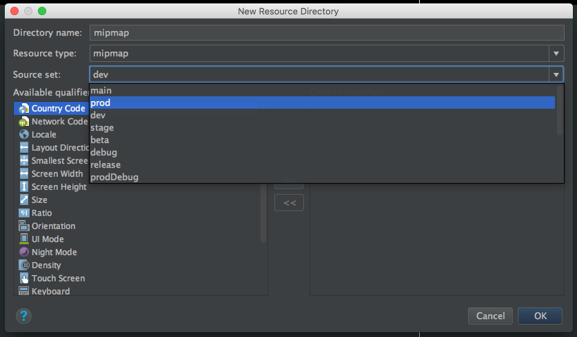 new android resource directory dialog